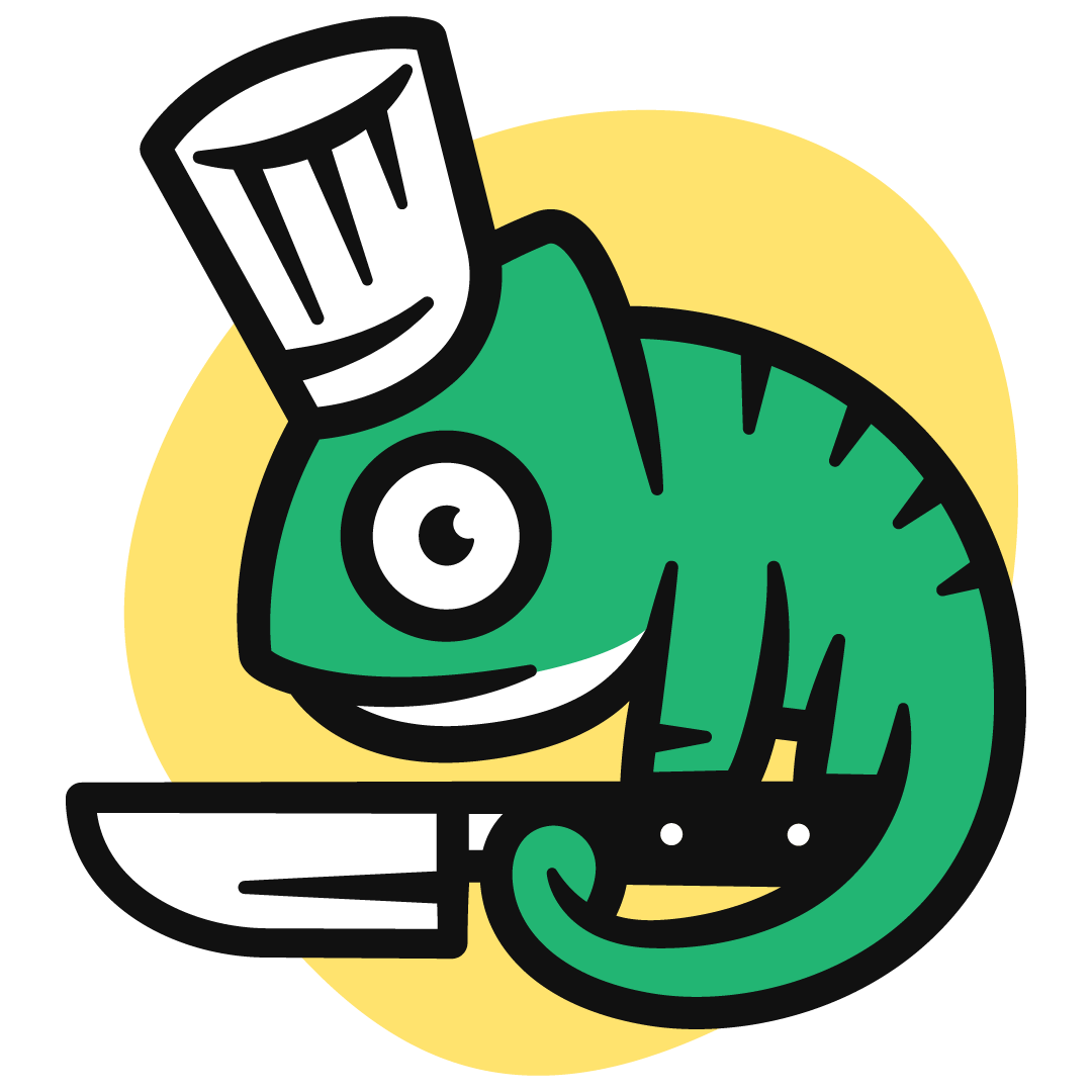 Cute logo of lizard in a chef hat